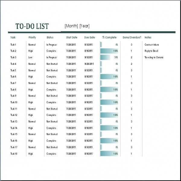 Monthly to Do List Template Monthly Task List Template