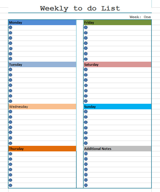 Monthly to Do List Template Weekly to Do List Template