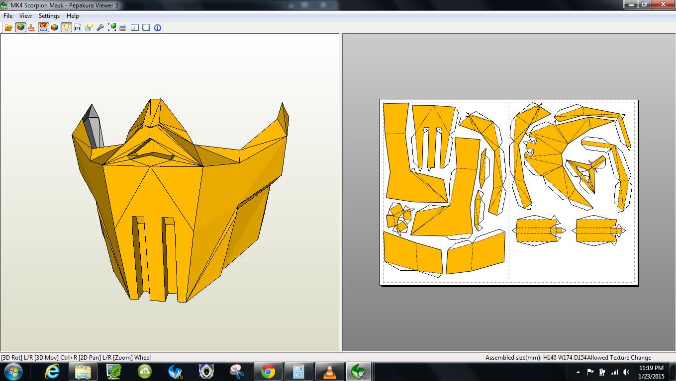 Mortal Kombat Mask Template Papercraft Pdo File Template for Mortal Kombat 4