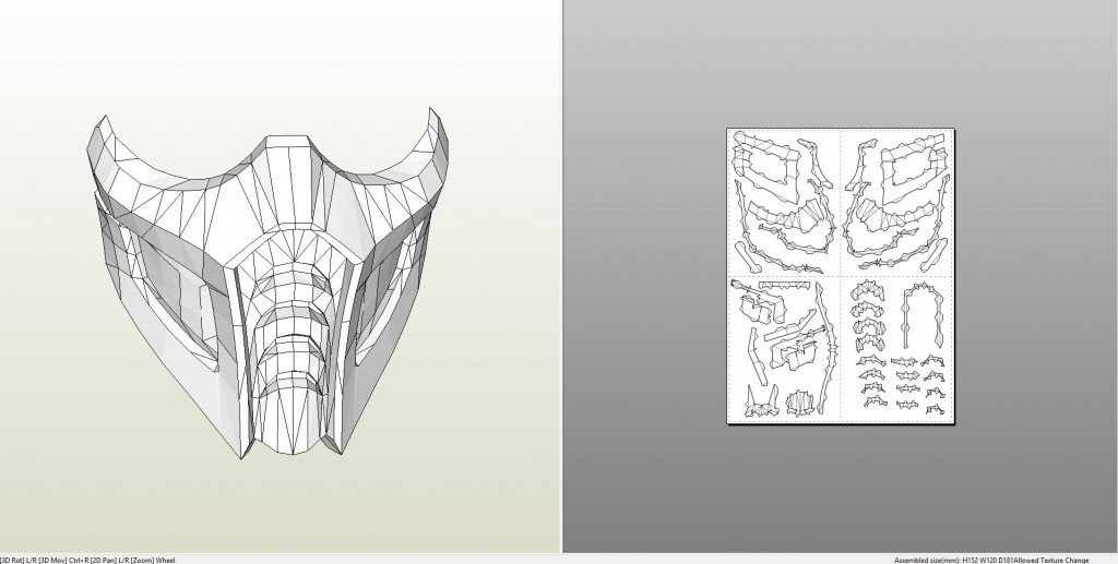 Mortal Kombat Mask Template Papercraft Pdo File Template for Mortal Kombat Sub Zero