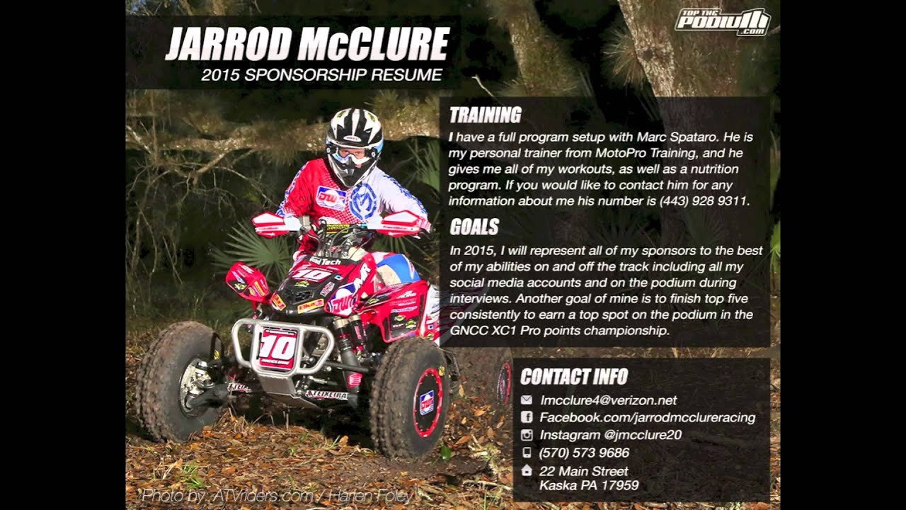 Motocross Sponsorship Resume Template Jarrod Mcclure S 2015 Sponsorship Resume