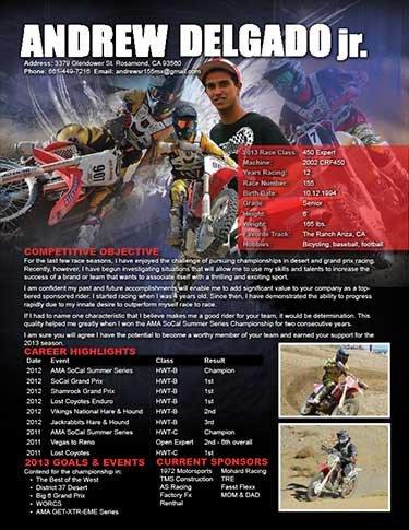 Motocross Sponsorship Resume Template Resume Portfolio