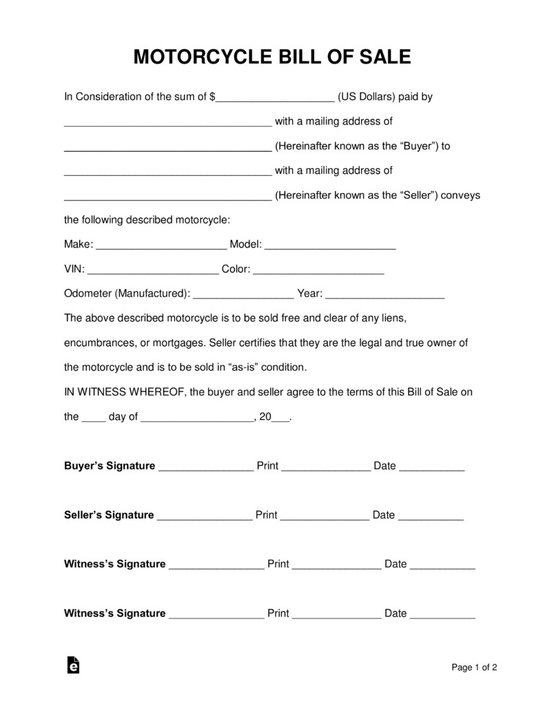 Motorcycle Bill Of Sale Free Motorcycle Bill Of Sale form Pdf Word