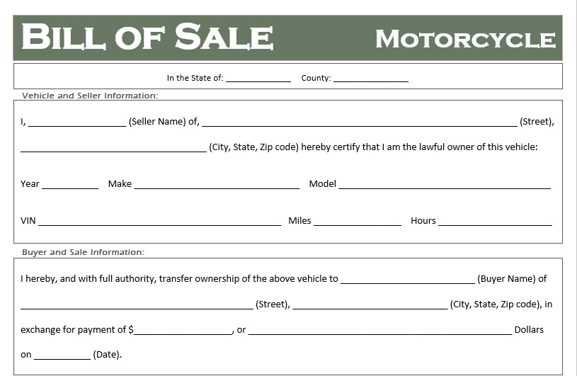 Motorcycle Bill Of Sale Free Motorcycle Bill Of Sale Templates All States F