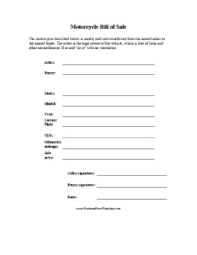 Motorcycle Bill Of Sale Free Printable Motorcycle Bill Of Sale form Generic