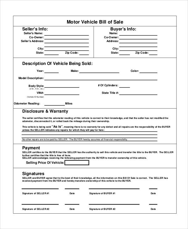 Motorcycle Bill Of Sale Sample Motorcycle Bill Of Sale 8 Examples In Pdf Word