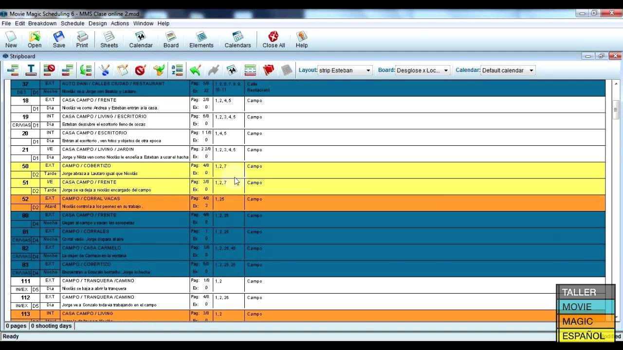 Movie Magic Scheduling Template Movie Magic Stripboard Manager Tutorial En Español