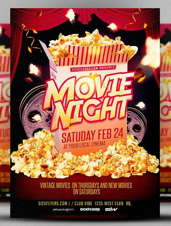 Movie Night Flyer Template 10 Best Movie Night Flyer Template & Psd Designs