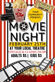 Movie Night Flyer Template 4 930 Customizable Design Templates for Movie Night