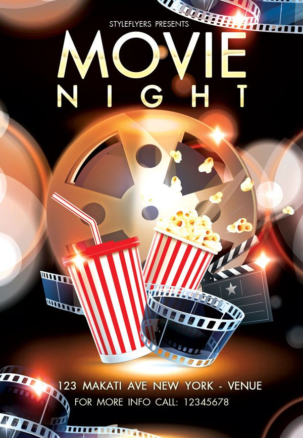 Movie Night Flyer Template Free and Premium Flyers with Style Resources