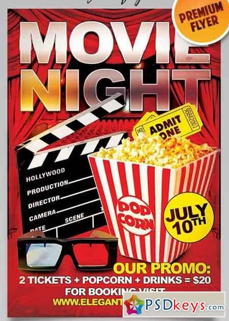 Movie Night Flyer Template Movie Night Flyer Psd Template Cover Free