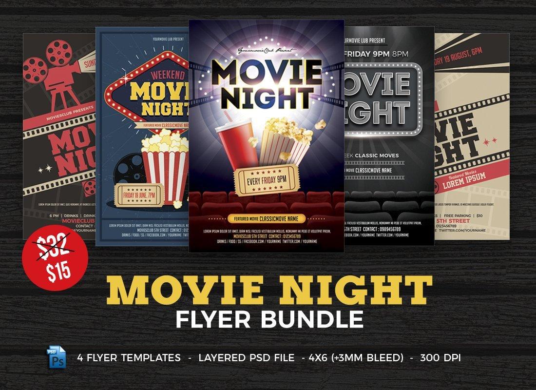 Movie Night Flyer Template Movie Night Flyer Template Bundle Flyer Templates