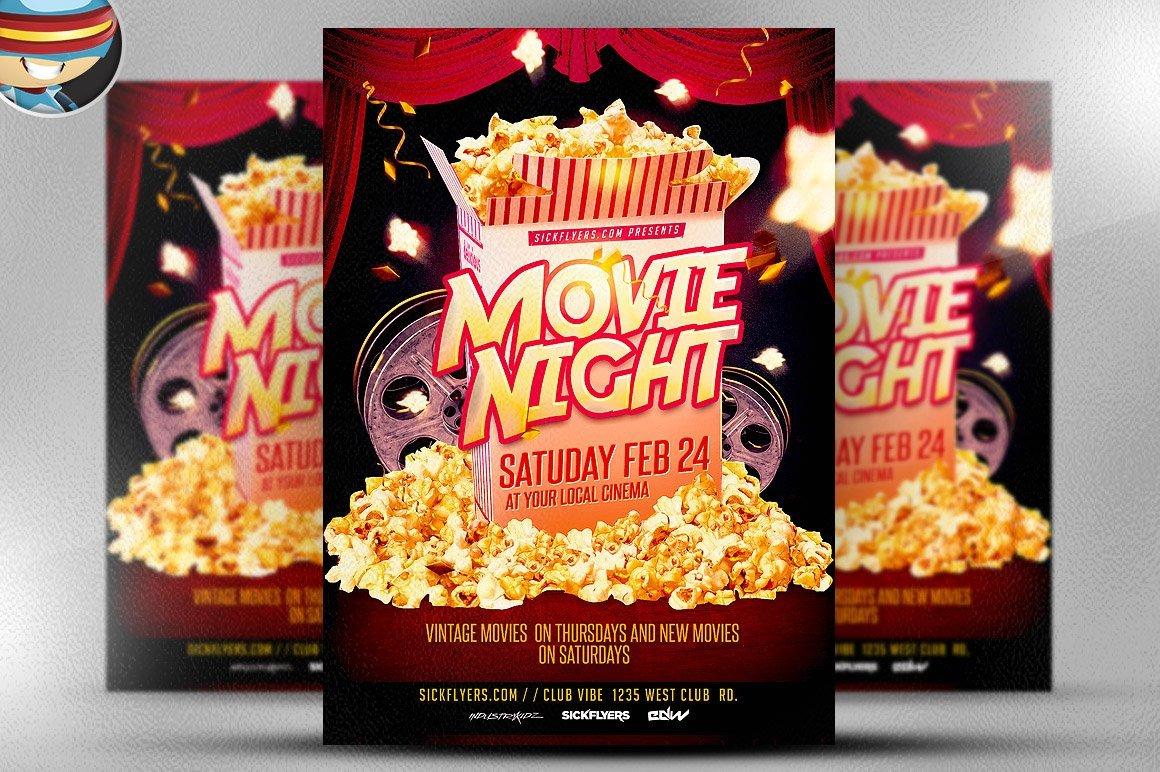 Movie Night Flyer Template Movie Night Flyer Template Flyer Templates Creative Market