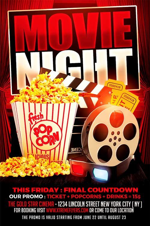Movie Night Flyer Template Movie Night Flyer Template Xtremeflyers