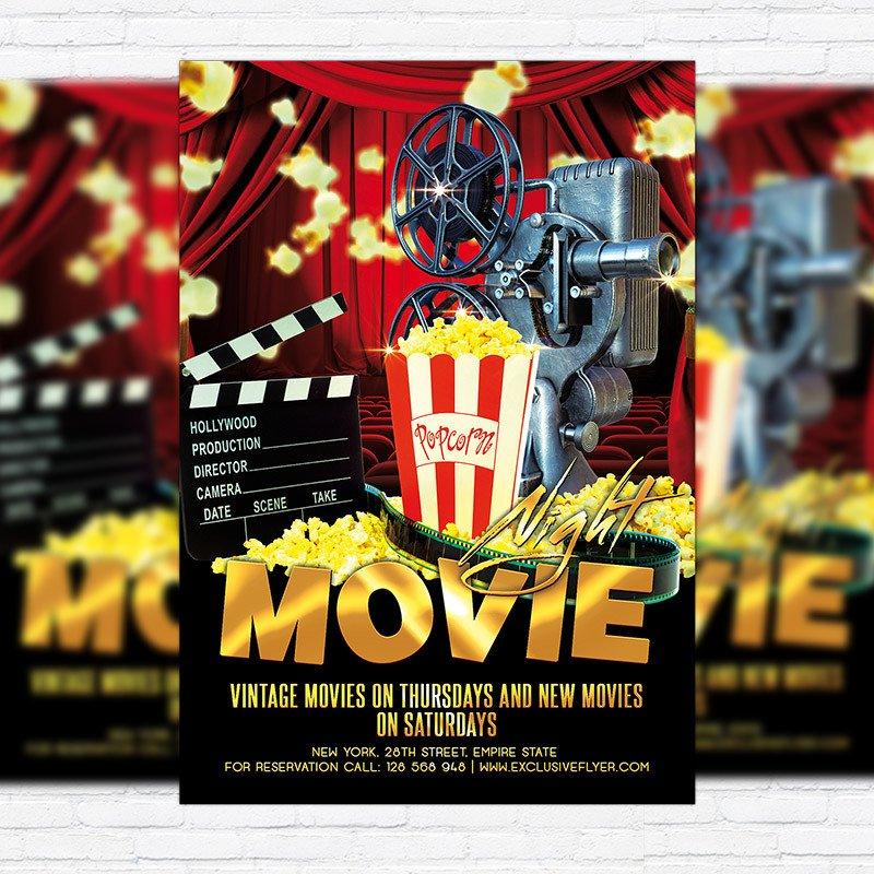 Movie Night Flyer Template Movie Night – Premium Flyer Template Cover