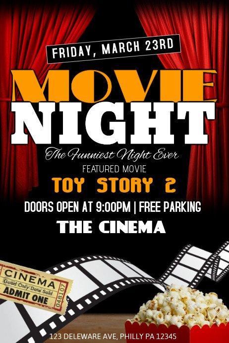 Movie Night Flyer Template Movie Night Template