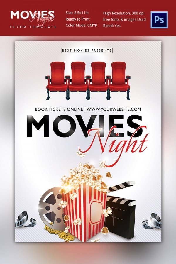 Movie Night Flyer Template Movie Poster Templates – 44 Free Psd format Download