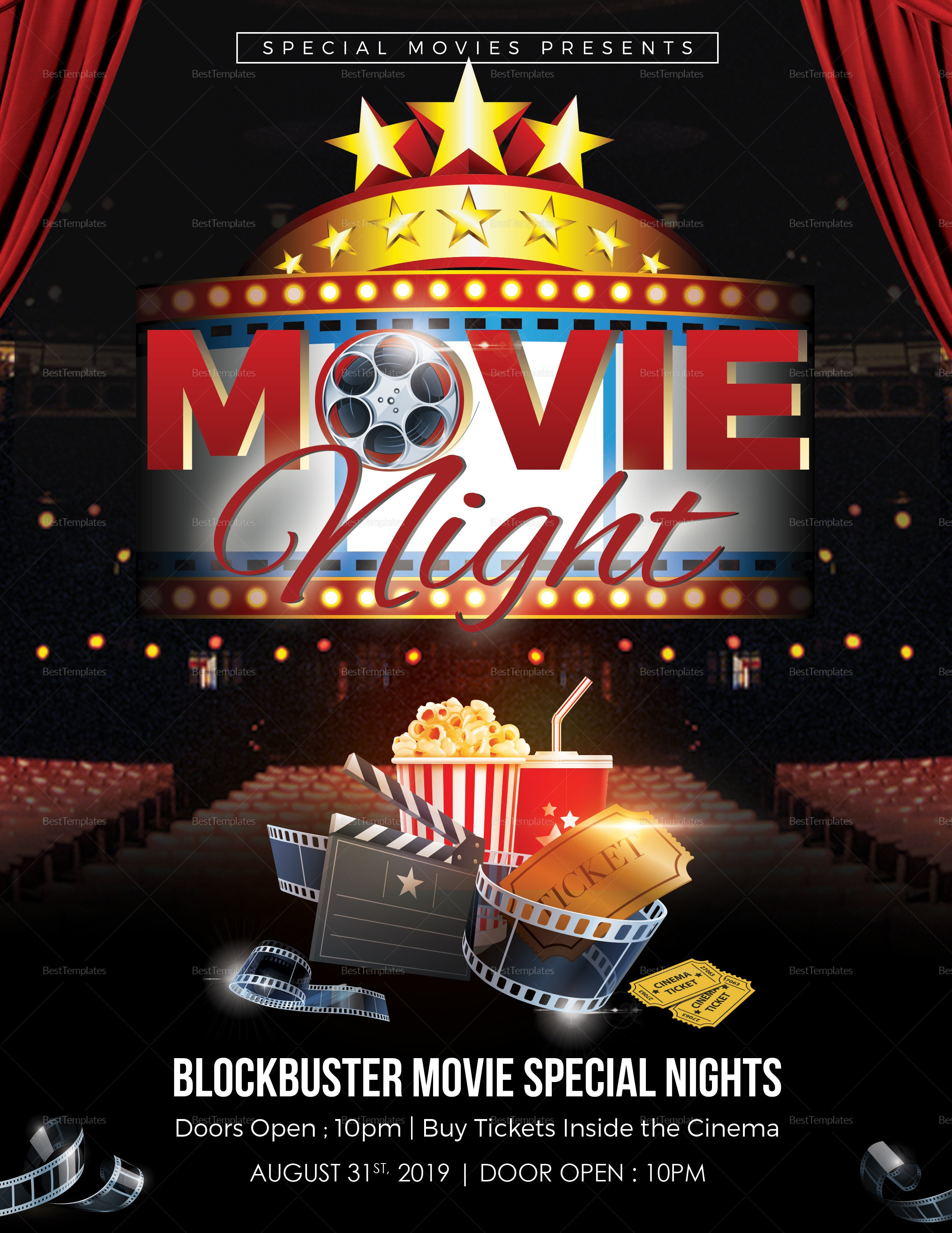 Movie Night Flyer Template Printable Movie Night Flyer Design Template In Word Psd