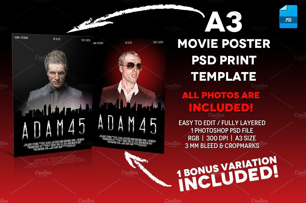Movie Poster Template Free A3 Movie Poster Print Template 6 Flyer Templates
