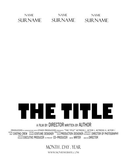 Movie Poster Template Free Movie Template