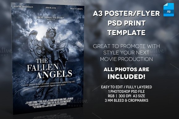Movie Poster Template Psd English Blue Print Movie Rodoved