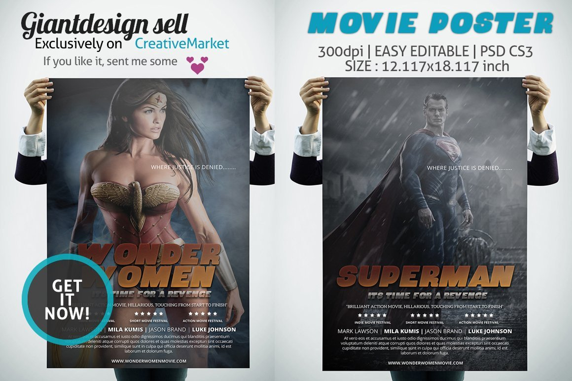 Movie Poster Template Psd Movie Poster Flyer Templates Creative Market