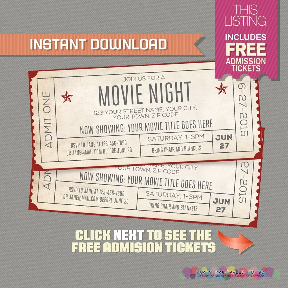 Movie Ticket Invitation Template Blank Movie Ticket Invitation Template Free Download Aashe