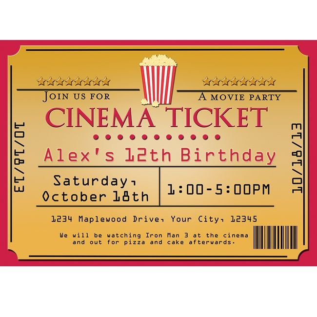 Movie Ticket Invitation Template Cinema Movie theater Popcorn Ticket Birthday Party event