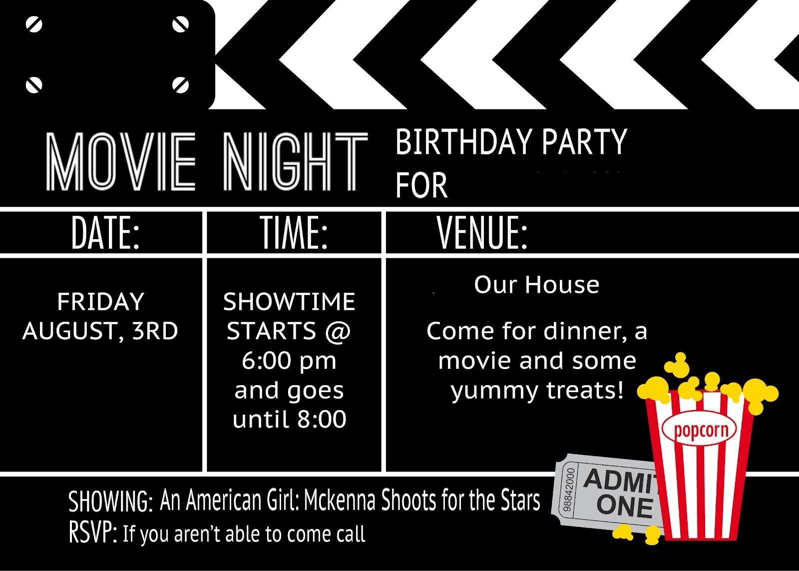 Movie Ticket Invitation Template Cool Black and White Movie themed Birthday Party