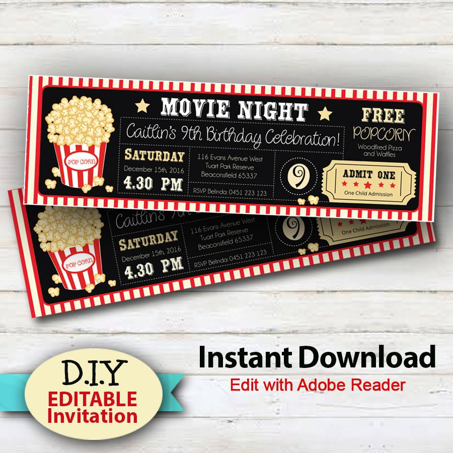 Movie Ticket Invitation Template Editable Instant Download Movie Party Invitations Boy or
