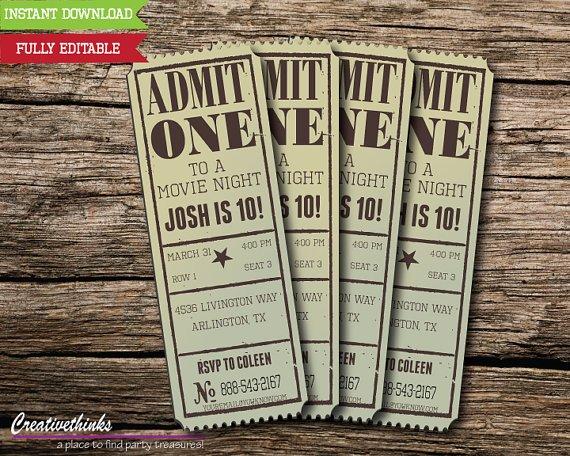 Movie Ticket Invitation Template Editable Vintage Movie Ticket Invitation Digital File