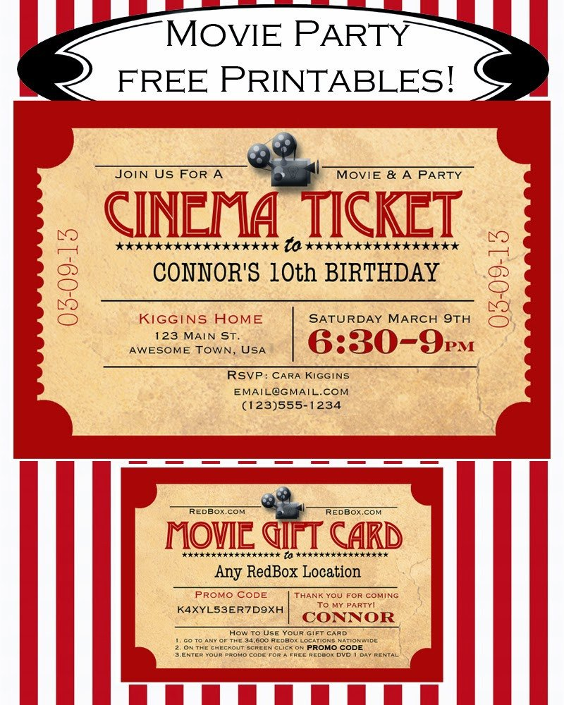 Movie Ticket Invitation Template Like Mom and Apple Pie A Summer Movies Free Printables