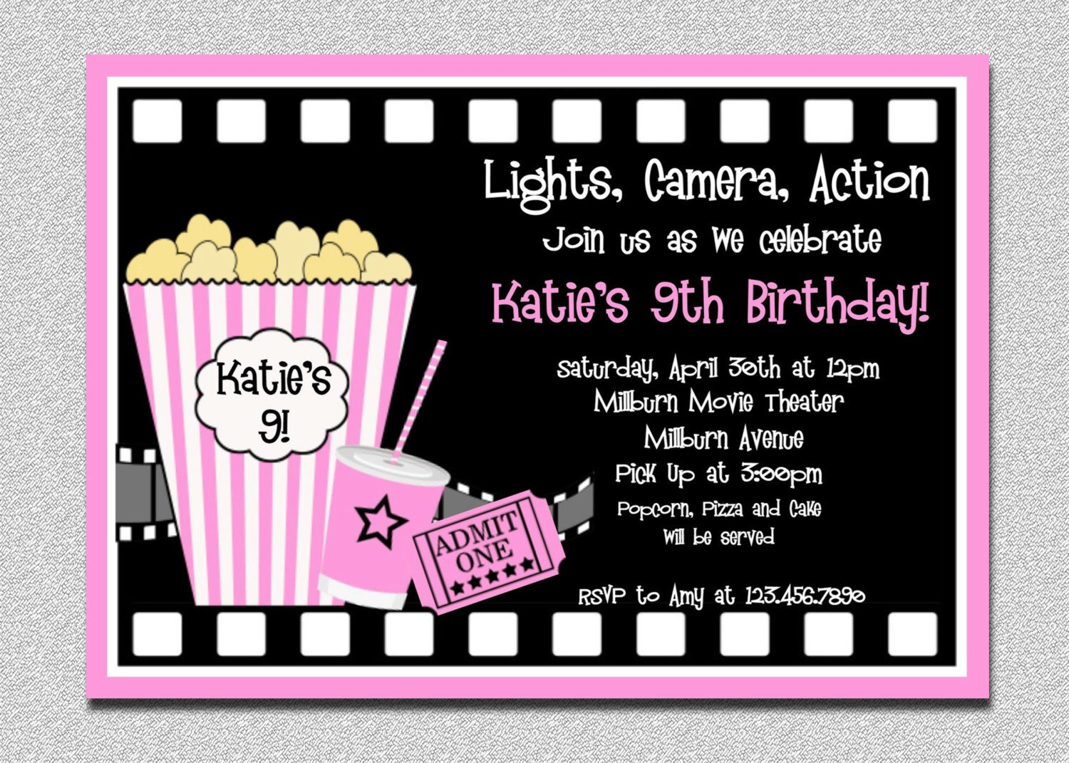 Movie Ticket Invitation Template Movie Birthday Invitations Movie Night by thetrendybutterfly