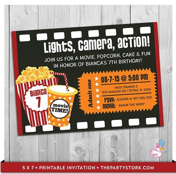 Movie Ticket Invitation Template Movie Party Invitation Printable Boys or Girls Movie Invite