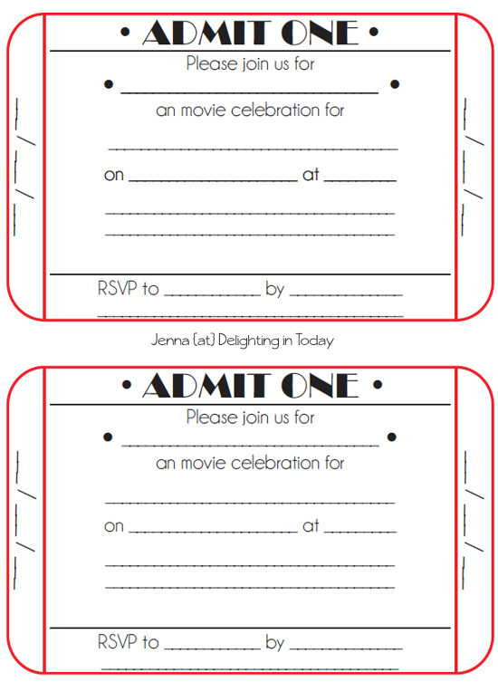 Movie Ticket Invitation Template Movie Ticket Birthday Invitations Free Printable