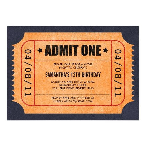 Movie Ticket Invitation Template Movie Ticket Invitations