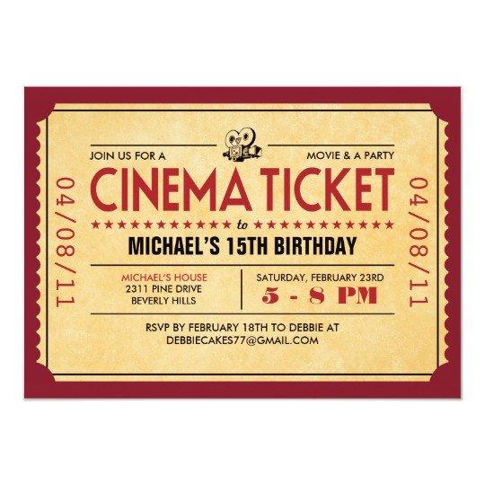 Movie Ticket Invitation Template Retro Movie Ticket Invitations