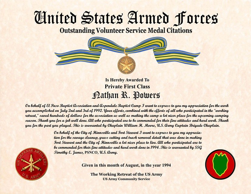 Movsm Certificate Template 26 Of Military Volunteer Service Medal Template