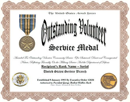 Movsm Certificate Template Outstanding Volunteer Service Medal and Display Recognition