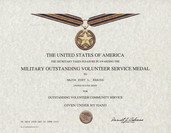 Movsm Certificate Template Outstanding Volunteer Service Medal Certificate