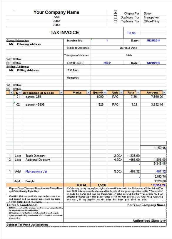 Ms Excel Invoice Template 60 Microsoft Invoice Templates Pdf Doc Excel
