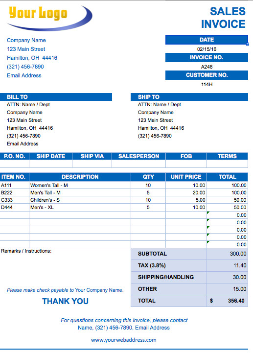 Ms Excel Invoice Template Free Excel Invoice Templates Smartsheet