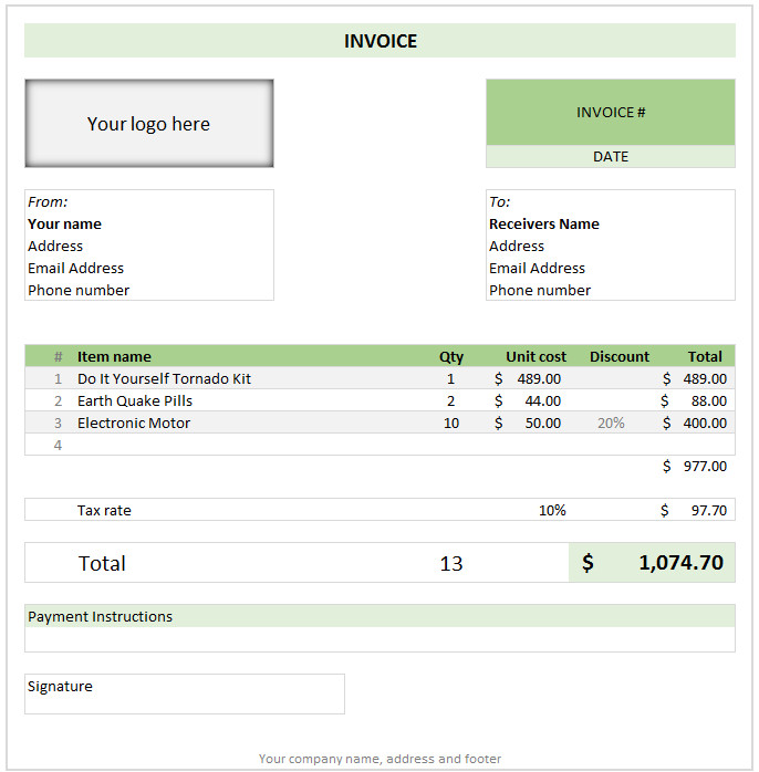 Ms Excel Invoice Template Free Invoice Template Using Excel Download today