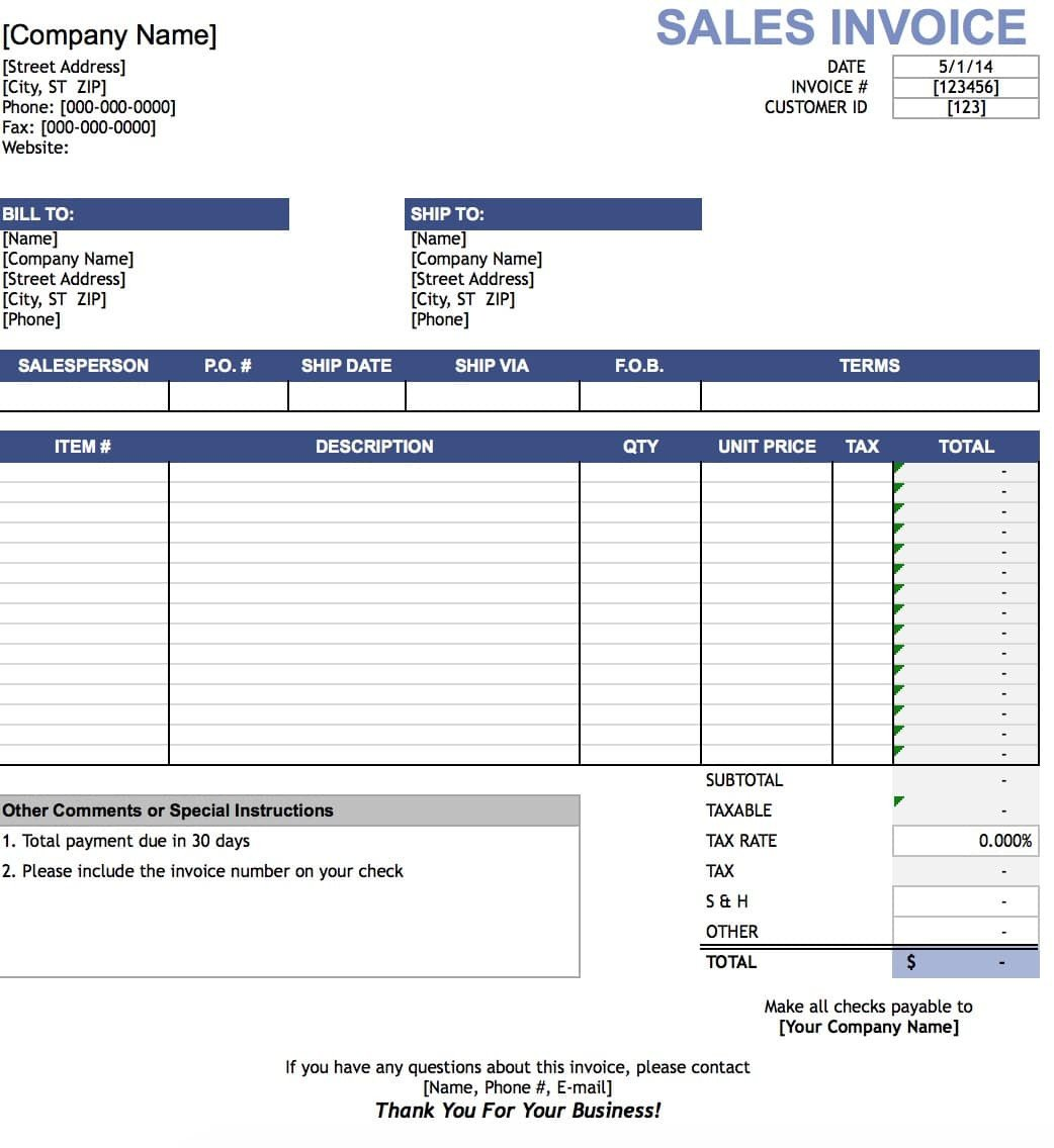 Ms Excel Invoice Template Free Sales Invoice Template Excel Pdf
