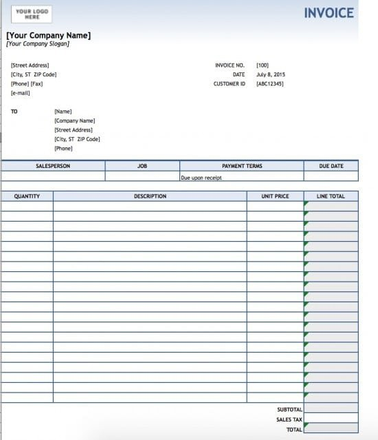 Ms Excel Invoice Template Free Service Invoice Template Excel Pdf