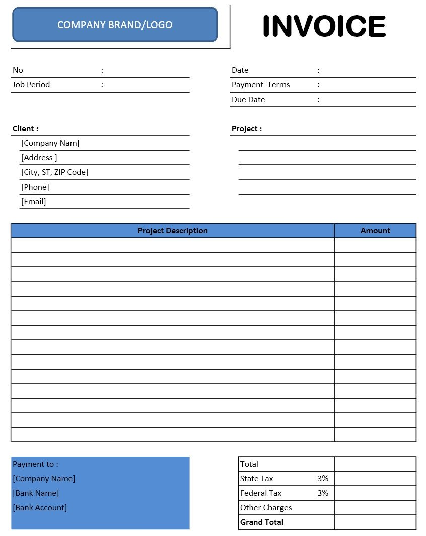 Ms Excel Invoice Template Invoice Templates