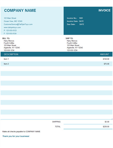 Ms Excel Invoice Template Invoices Fice