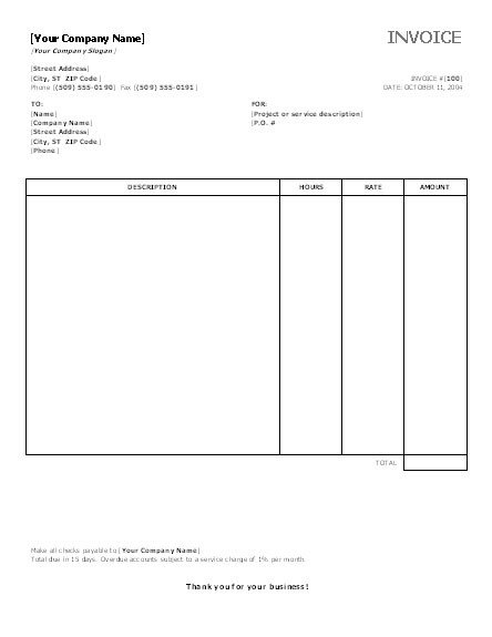 Ms Office Invoice Template Invoice Template Category Page 1 Efoza