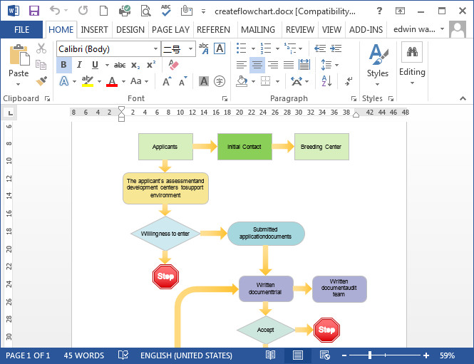 Ms Word Flow Chart Template Flowcharts In Word