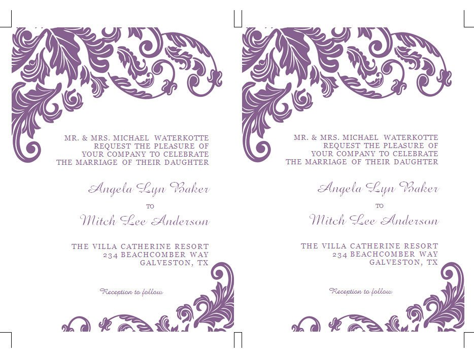 Ms Word Invitation Template Items Similar to Printable Ms Word Wedding Invitation